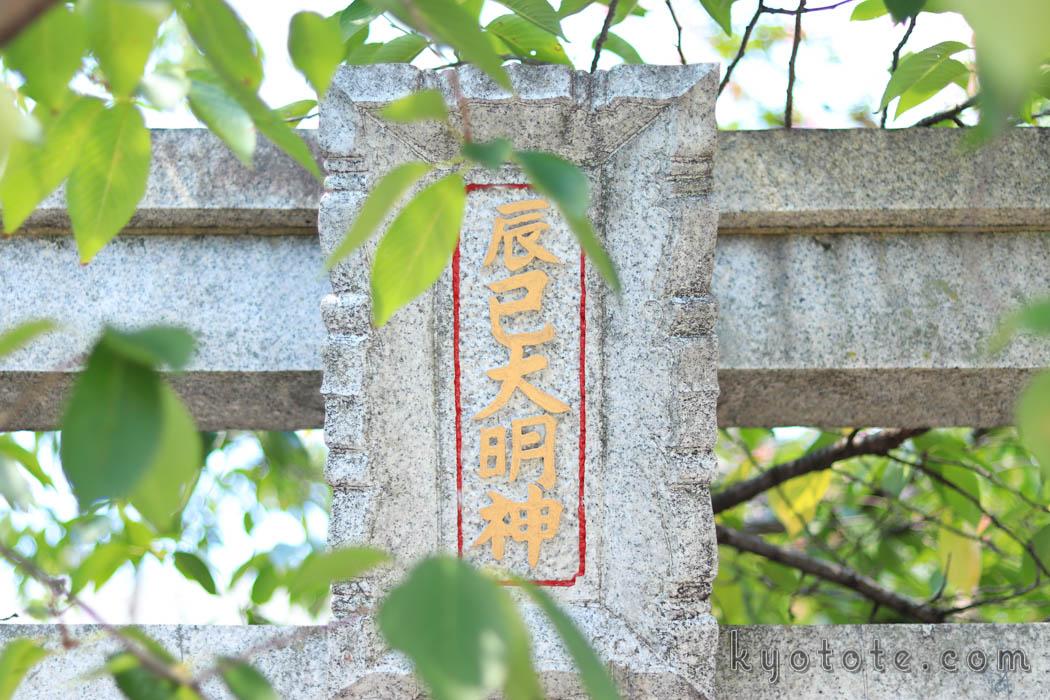 京都の辰巳大明神の扁額